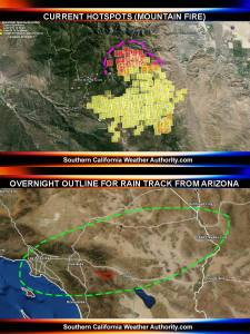 Current hot spots and moisture expected, from www.southerncaliforniaweatherauthority.com