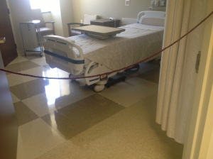"Each room's flooring dictates how close a person can get to someone in isolation. According to Jackson, ""This keeps the isolated patient feeling involved in their care. Isolation, without being totally isolated."