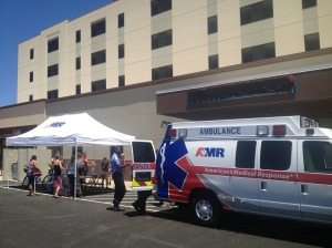 EMTs showed off their trucks to families.