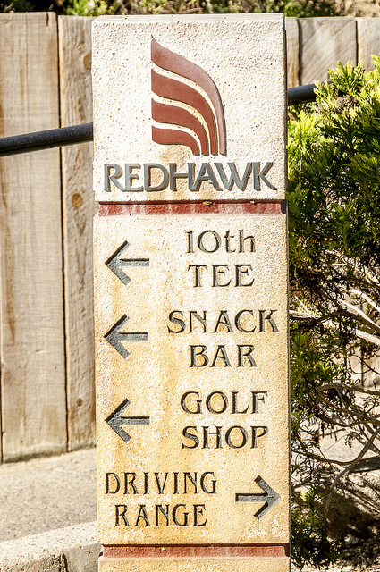 Red Hawk Golf Course Sign (c) Crispin Courtenay
