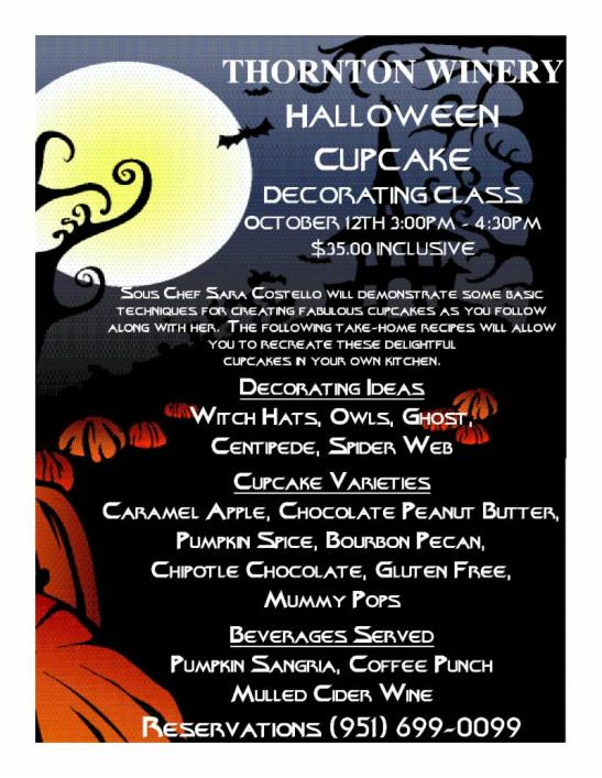 Thornton Winery Halloween Cupcake Decorating Class