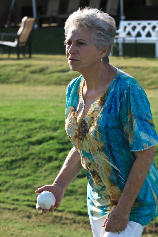 Canyon Lake resident Bonnie Miller throws out the ball at Polo Practice, midweek at Temecula Valley Polo Club