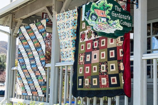 Quilts outside Gardener's Cottage  Temecula (c) Crispin Courtenay