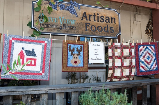 Temecula Olive Oil Company and quilts (c) Crispin Courtenay