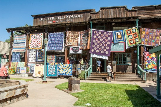 Butterfield Square draped in quilts 2013 (c) Crispin Courtenay