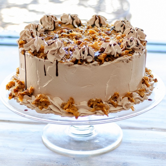 """A custom Ordered 9"""" 2 layer Cake Gluten Free, Vegan, Paleo or regular cake, made with organic ingredients, by our highly skilled Pastry Chef.  (c) Crispin Courtenay"""