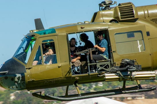 Gary Sinise and CPL Juan Dominguez arrived via helicopter to the Colors of Courage Run in Temecula Valley (c) Crispin Courtenay