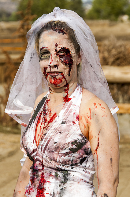 Zombie Bride ready for the chase (c) Crispin Courtenay