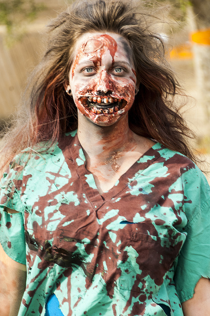 Professional Zombie Makeup made walking dead style zombies come to life (c) Crispin Courtenay