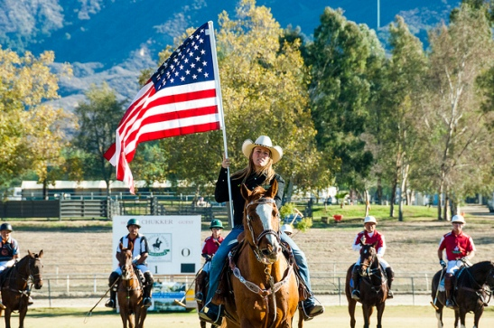 American Flag Horses at Colors flying at End of season 2013 Temecula Valley Polo Club (c) Crispin Courtenay