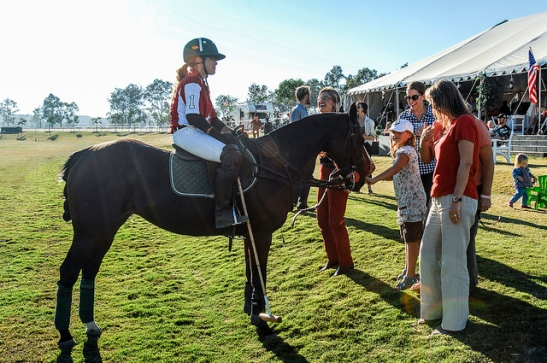 Geraldine Strunsky introduces her partner Temecula Valley Polo Club 2013 (c) Crispin Courtenay