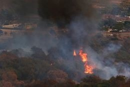 Fire burns in the Lake ONeill vicinity on Camp Pendleton Oct.5. (Photo by Cpl. Sarah WolffDiaz)