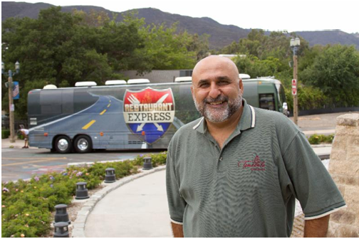 Mayor Mike Naggar with Restaurant Express Tour Bus