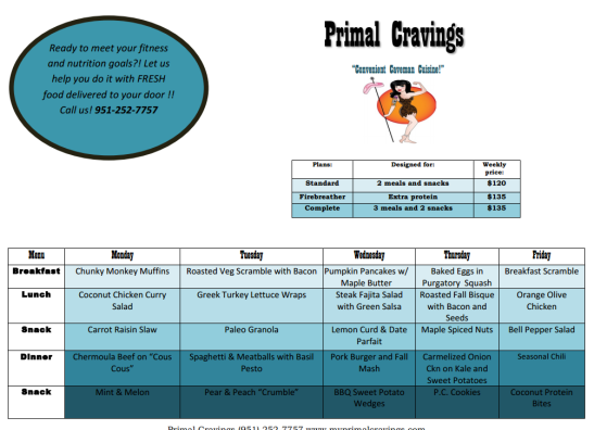 Primal cravings sample menu