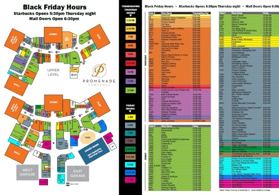 Promenade Temecula's Interactive color coded black Friday map, 2013