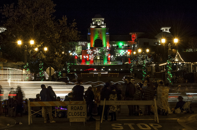 city hall aglow with christmas lights during parade of lights in temecula 2013 c