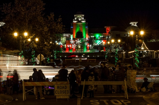 City Hall aglow with Christmas Lights during parade of lights in Temecula 2013 (c) Crispin Courtenay