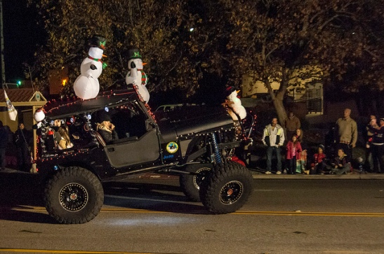 One jeep driving over another? Why not. Temecula Christmas Parade 2013  (c) Crispin Courtenay