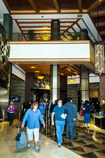 Visitors check in to the new Pechanga Resort and Casino lobby 2014 (c) Crispin Courtenay