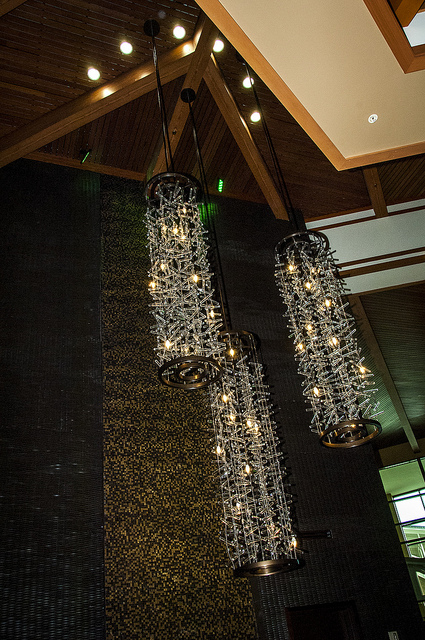 Fixtures in glass and light at Pechanga Resort and Casino in Temecula (c) Crispin Courtenay