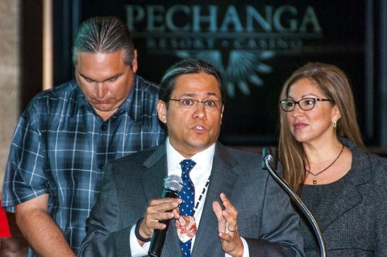 Pechanga Tribal Chairman Mark Macarro speaks at ribbon cutting ceremony Grand Entrance Renovation project (c) Crispin Courtenay