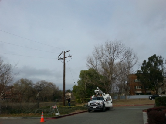Power pole failure - as wooden power pole snapped due to weathering, wind, and elements off Main Street in Old Town Temecula