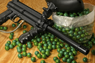 Paint ball gun and ammunition (courtesy)