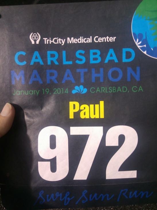 Paul of Shamrock Irish Pub and Eatery starts Carlsbad Marathon January 19, 2014 (courtesy)