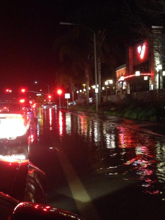 Water floods streets of Margarita, Solana, Ynez in Temecula (c) Tanya Rogers