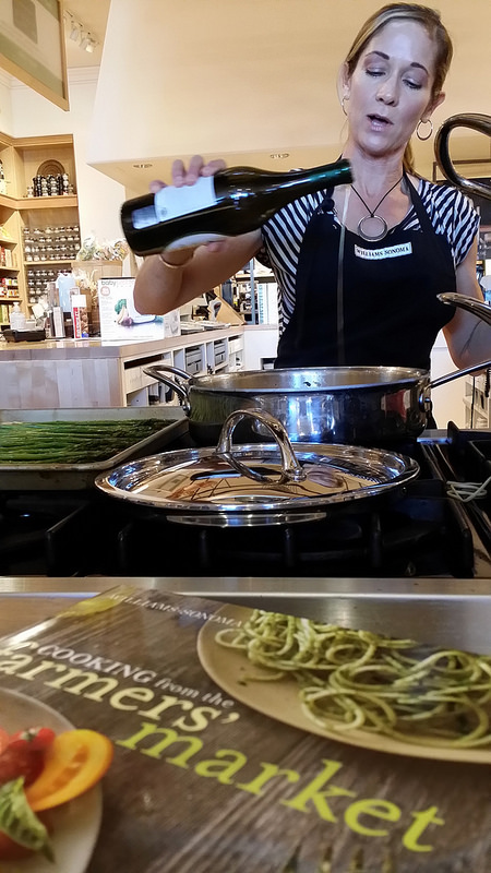 De-glazeing pan with South Coast Winery Chardonnay (Ashley Ludwig)