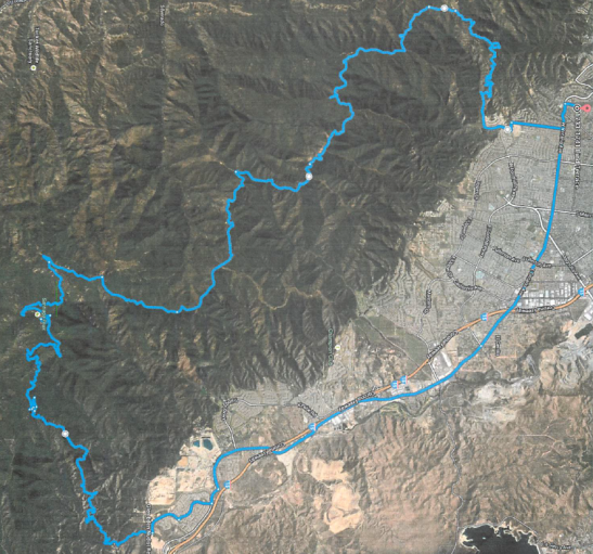 Search Area for missing mountain biker in Lake Elsinore, CA 3-2-2014