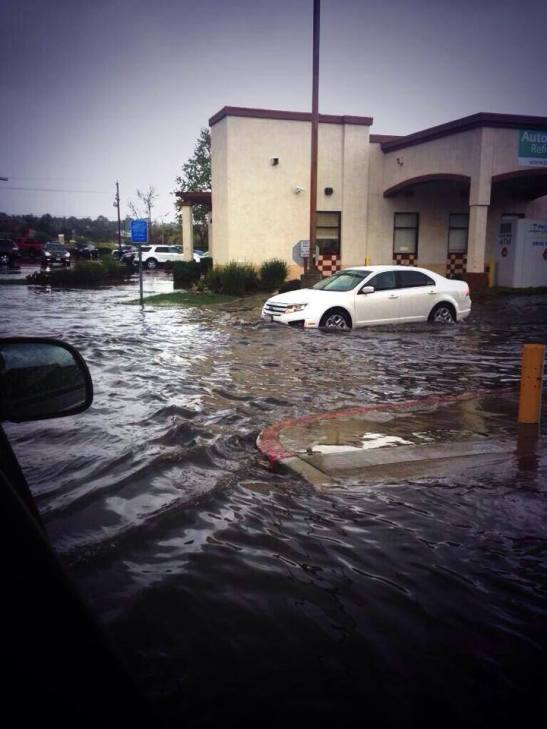 Temecula Pizza factory Parking Lot submerged in storm 2/28/2014 (courtesy)