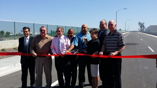 Temecula and Murrieta city councils gather to cut the ribbon for the French Valley Interchange off I-15 South