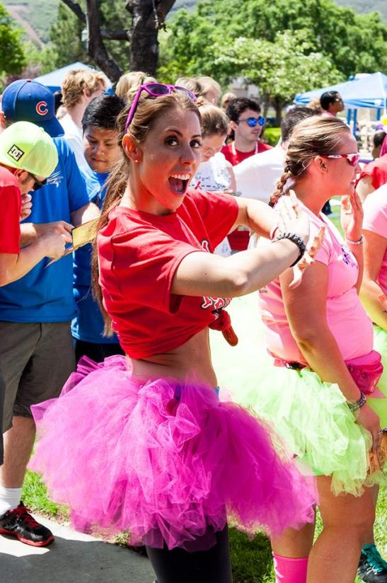 Liza Stinton, of Big Brother Canada, dancing for the camera before Reality Rally race (c) Crispin Courtenay