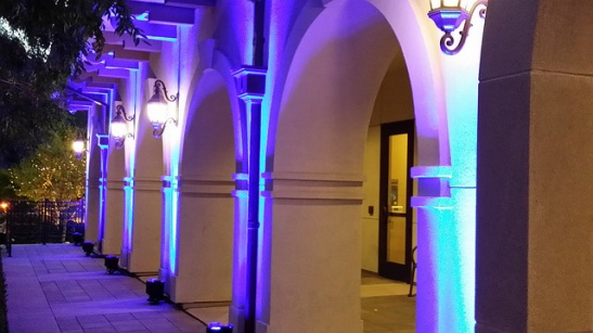 Arches at city hall, Temecula, lighting up blue