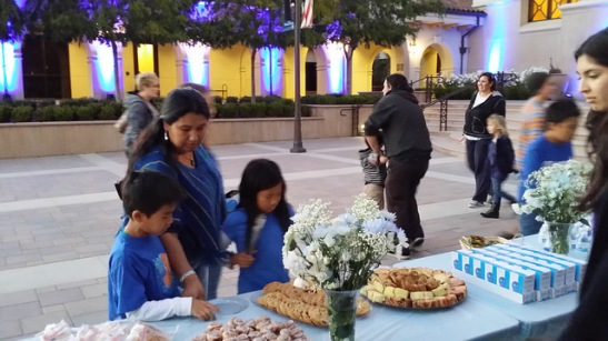 Light tidbits served by city of Temecula for those who stayed to watch the city hall colors deepen