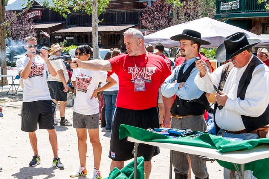 Survivor's Richard Hatch with Old Town Temecula gunfighters (c) Crispin Courtenay