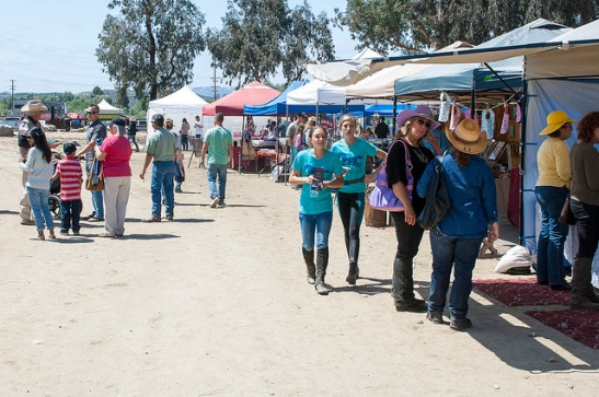 Attendees wandered from booth to booth checking out a wide variety of equine related offerings ranging from horse feed, gear, jewelry, bath products, and arts and crafts to information on riding lessons and training.  (c) Crispin Courtenay