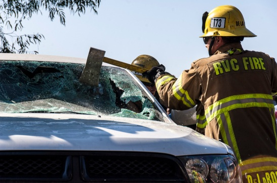 Jaws of life, axes, and more used to extract victims from the car during mock accident (c) Crispin Courtenay