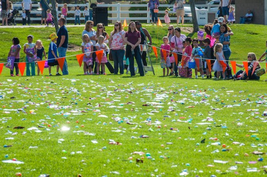 Kids await Easter Egg Hunt Temeku Hills Park  (c) Crispin Courtenay