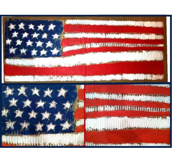 Old Glory, paint on corrugated recycled cardboard, Alexis Dominguez