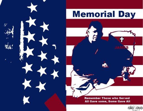 This Memorial Day graphic design of Alexis's husband, Juan Dominguez, shows depth and breadth of her abilities as graphic artist.