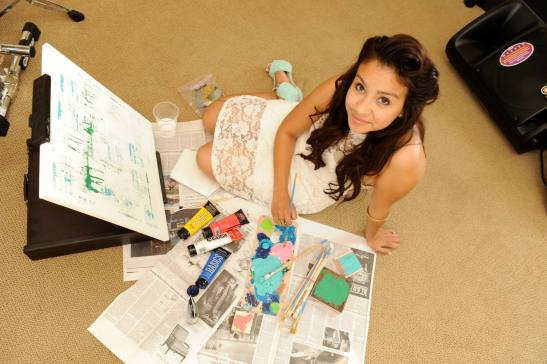 Alexis Dominguez, creating multimedia artwork and designs, inspired by Pinterest, inspiring a city