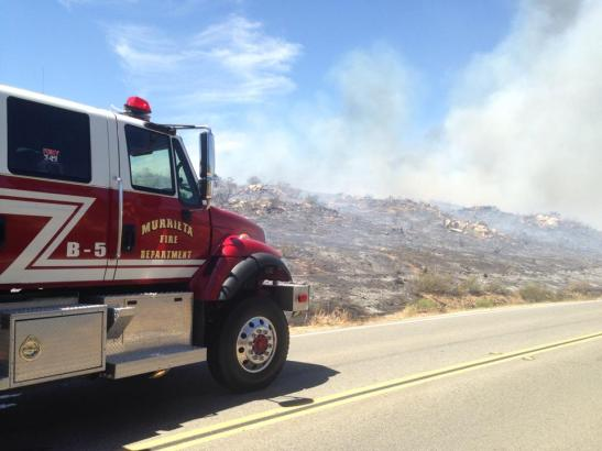 Murrieta Fire remains on scene to cool hot spots (c) Maggie Avants