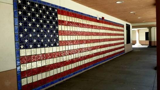 Handprint Tile Flag Wall (c) Tina Olsen