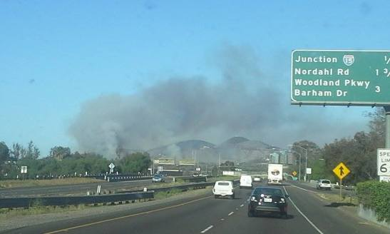 The Cocos Fire as seen from Highway 78 in Escondido, May 15, 2014. Photo/Belinda Callin