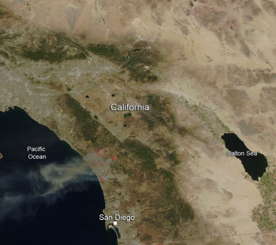 (c) Nasa Satellite image of California Fires -- shows smoke cloud that will shift west to east