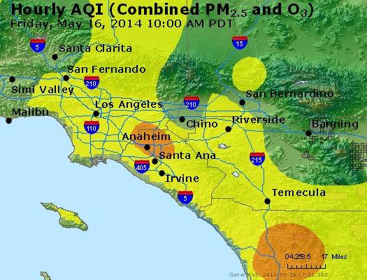 AirNow Air Quality Index shows large unhealthy air cloud headed through Temecula, CA (c) AirNow