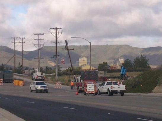 Downed Power lines close-I-15 bridge at Los Alamos (c) Joe Fanaselle